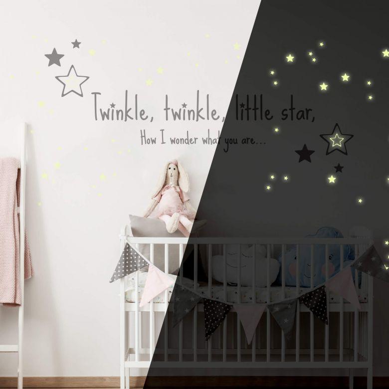Wandtattoo Twinkle little star... + Leuchtsterne
