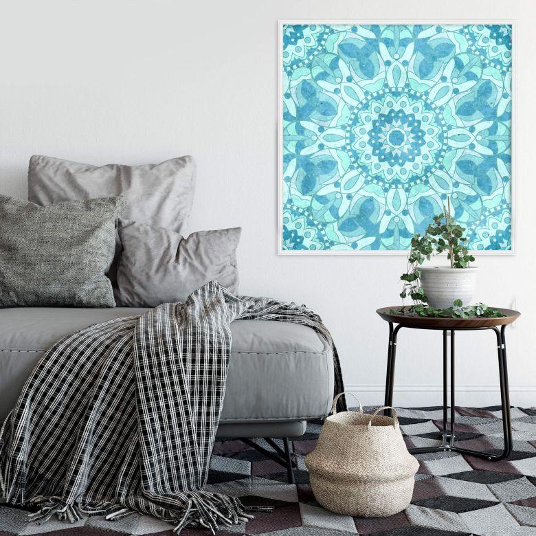 Wandsticker Turquoise Mosaic mit Zierleisten-Rahmen   wall-art.de