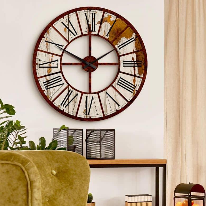 Horloge murale XXL - Vintage en HDF - Ø 70 cm