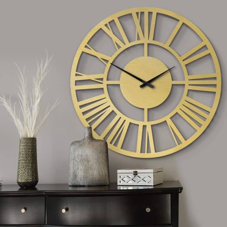 XXL Clock Alu-Dibond Gold Ø 70 cm