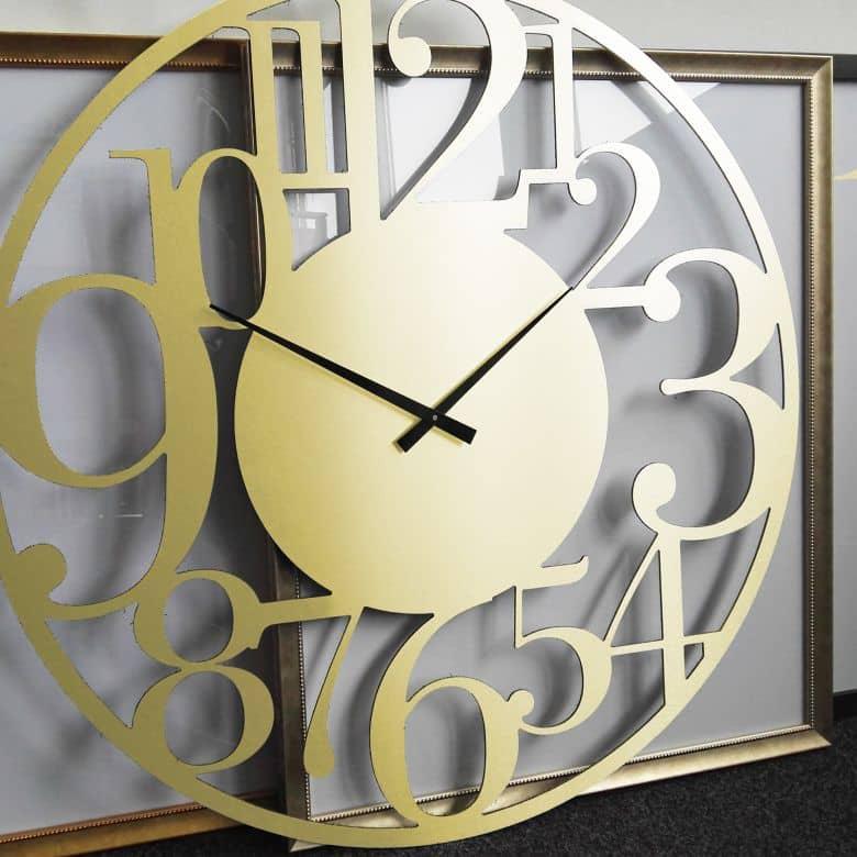 Horloge murale XXL en Alu-Dibond - Dorée - Moderne - Ø 70 cm