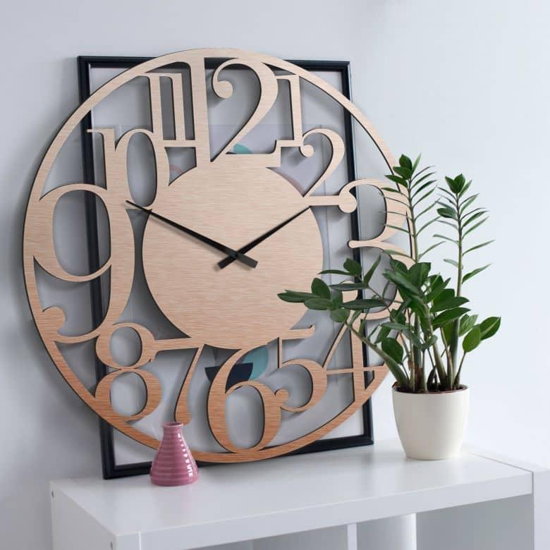 Horloge murale XXL en Alu-Dibond - Cuivrée - Moderne - Ø 70 cm