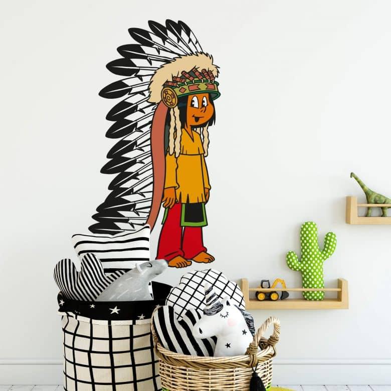 Sticker mural - Yakari avec coiffe de plumes