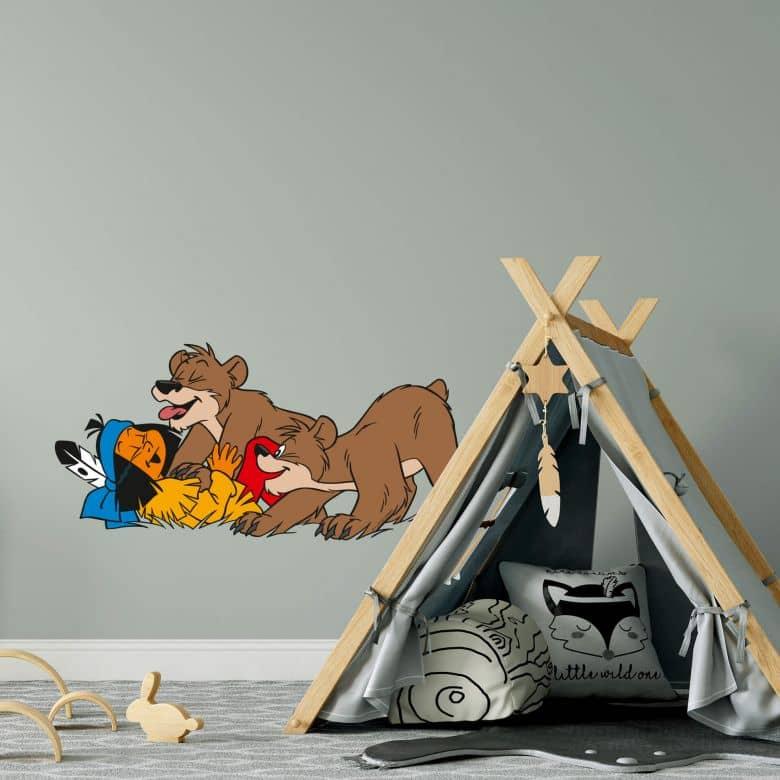 Sticker mural - Yakari joue avec les ours.