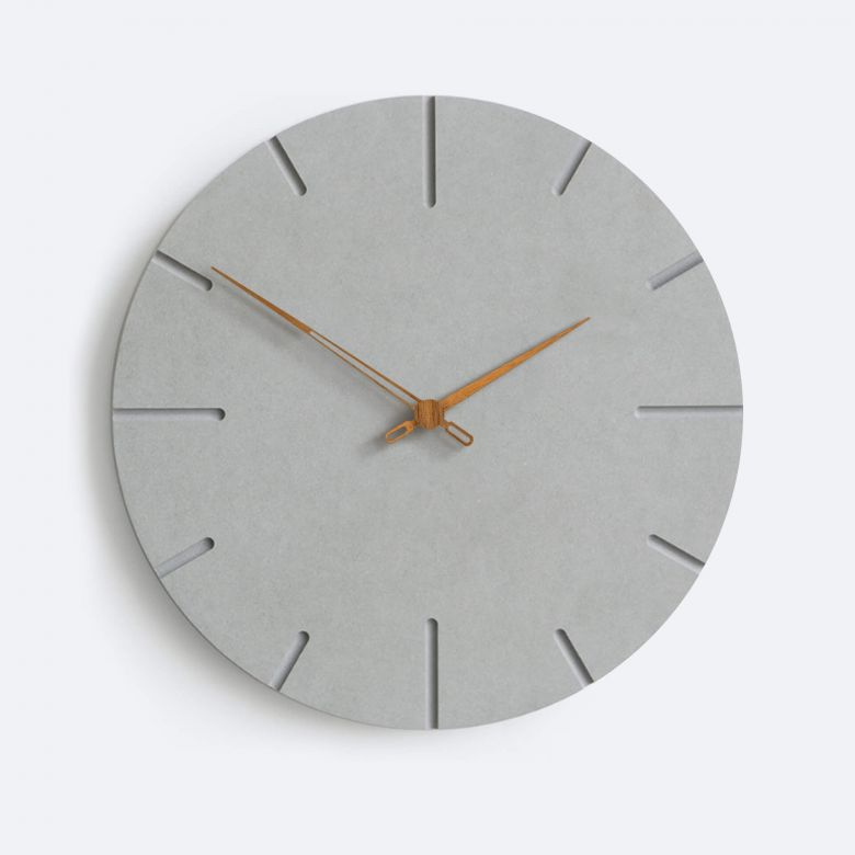 Moderne Wanduhr grau MDF Walnuss Holzzeiger Ø29 cm