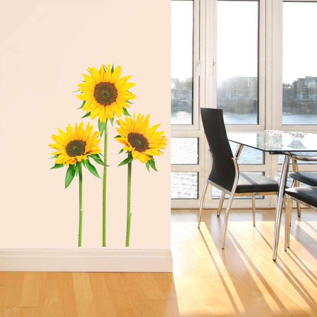 sticker mural tournesols. Black Bedroom Furniture Sets. Home Design Ideas
