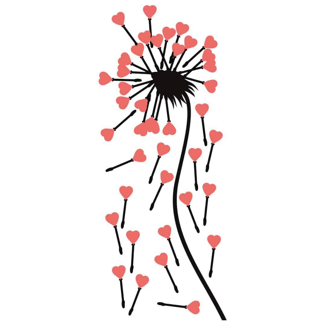 Wandtattoo Pusteblume rosa Herzen Bestellen Sie ses