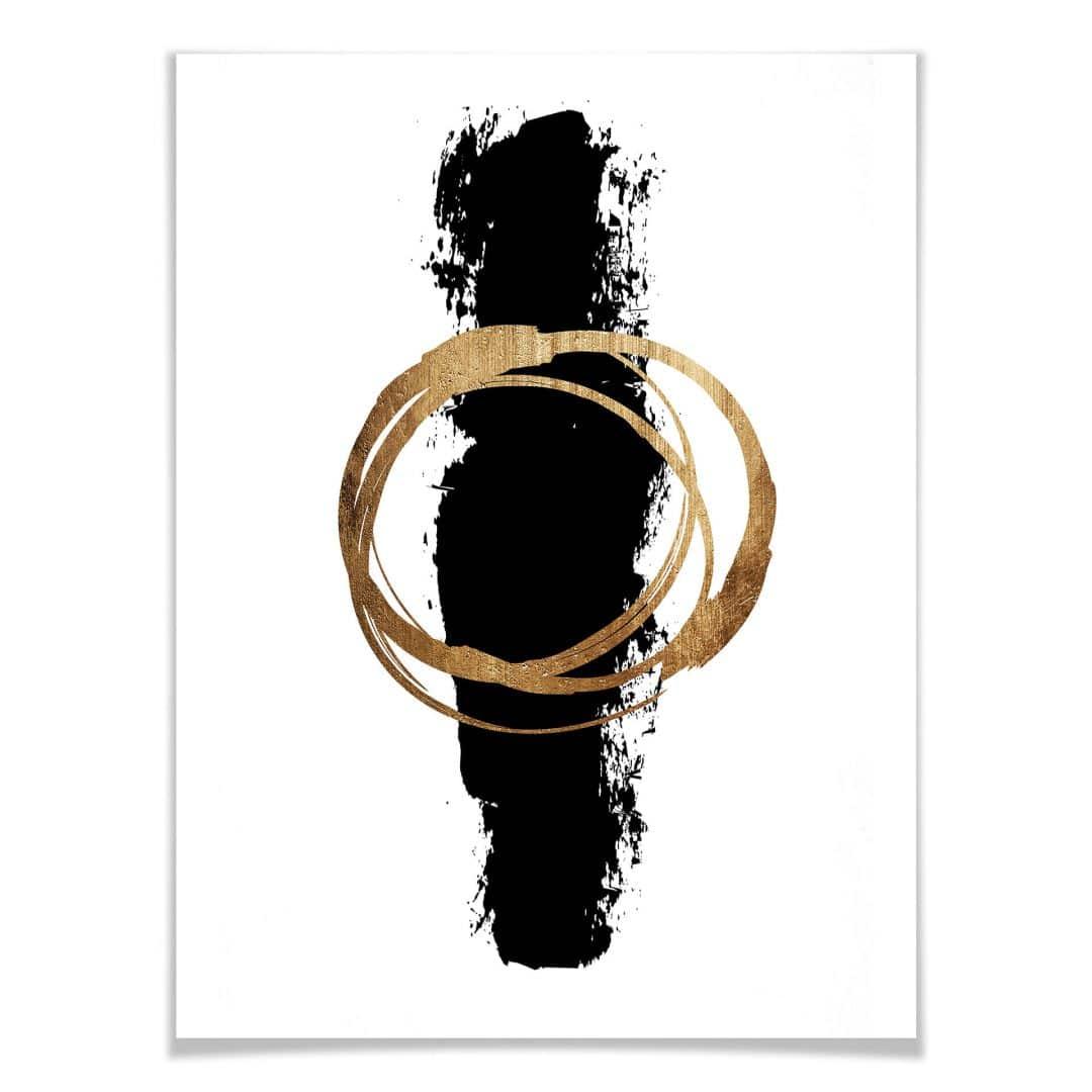 Poster Kubistika - Schwarz und Gold   wall-art.de