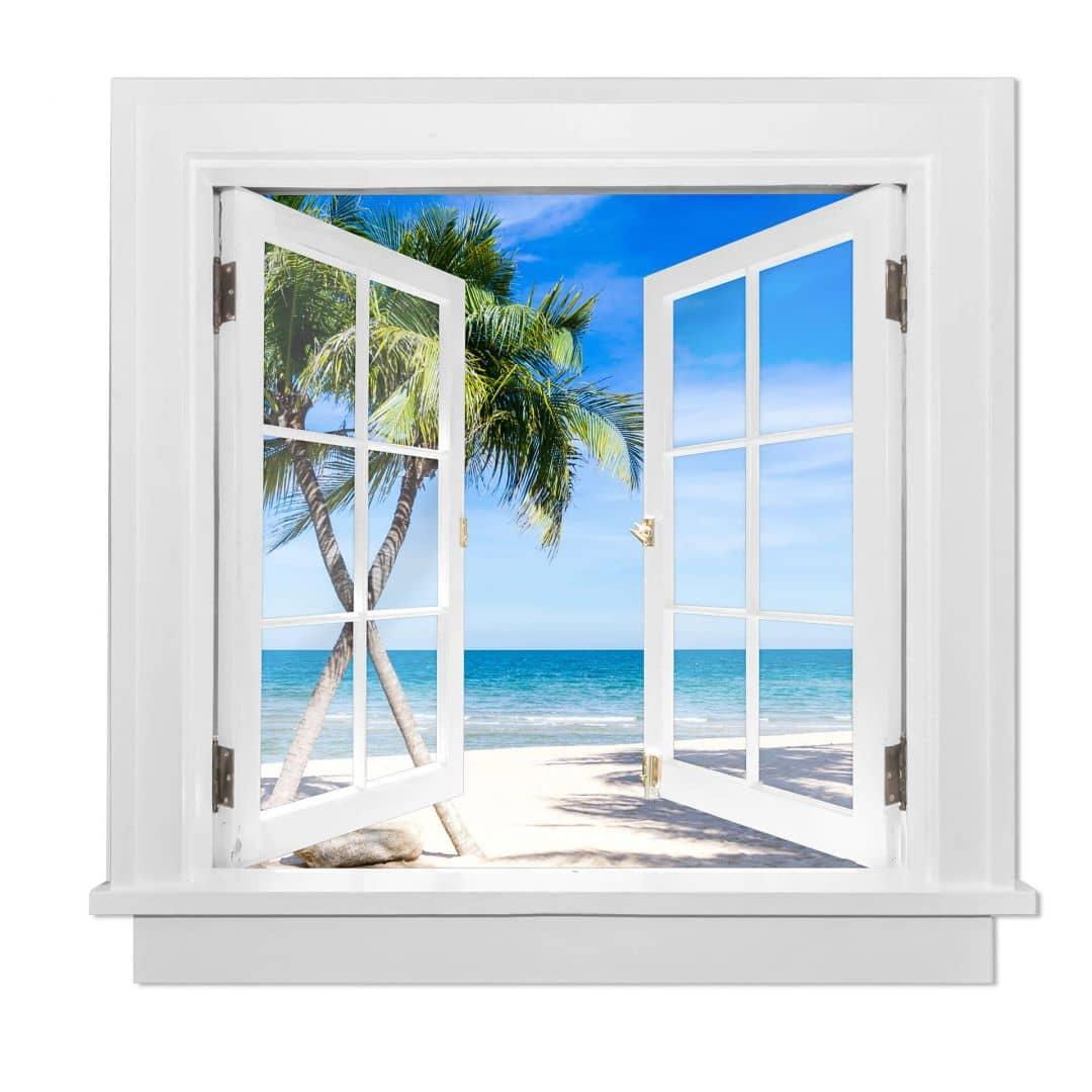 3d wandtattoo fenster quadratisch atlantic ocean wall. Black Bedroom Furniture Sets. Home Design Ideas