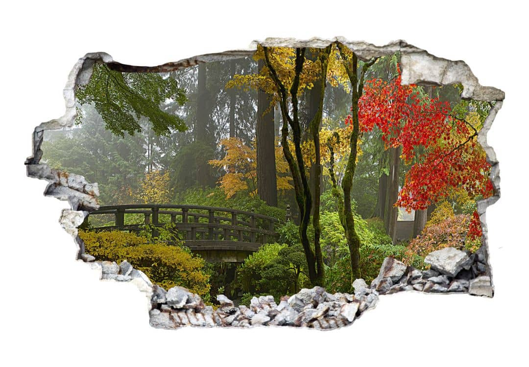 Adesivo 3d giardino giapponese for Giardino 3d