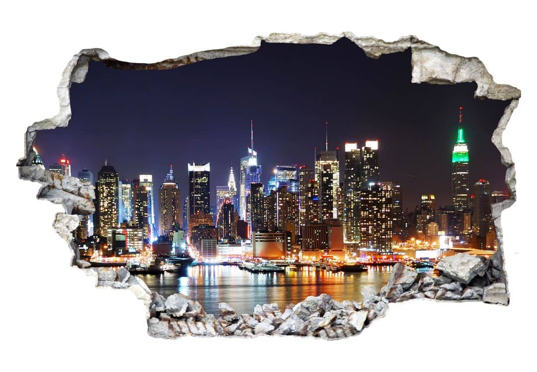 3d wandtattoo new york skyline wall. Black Bedroom Furniture Sets. Home Design Ideas