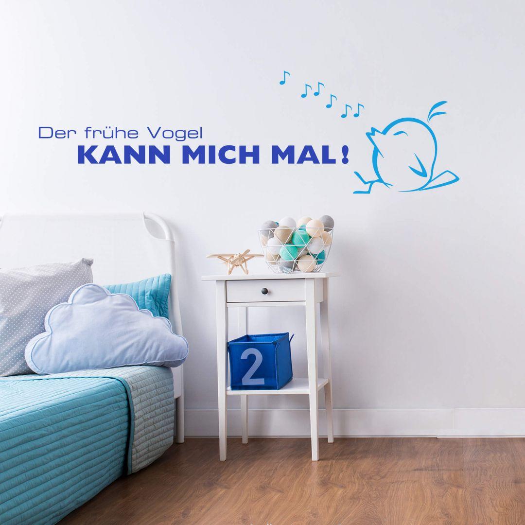 zweifarbiges wandtattoo der fr he vogel kann mich mal von k l wall art wall. Black Bedroom Furniture Sets. Home Design Ideas