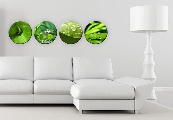 rundes glasbild natur set 4 teilig von k l wall art. Black Bedroom Furniture Sets. Home Design Ideas