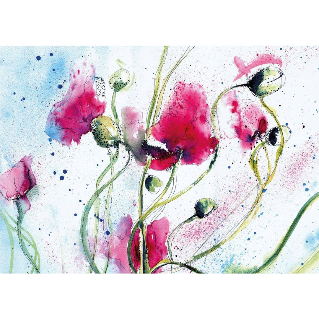 Poppies Watercolour Photo Wallpaper Wall Art Com
