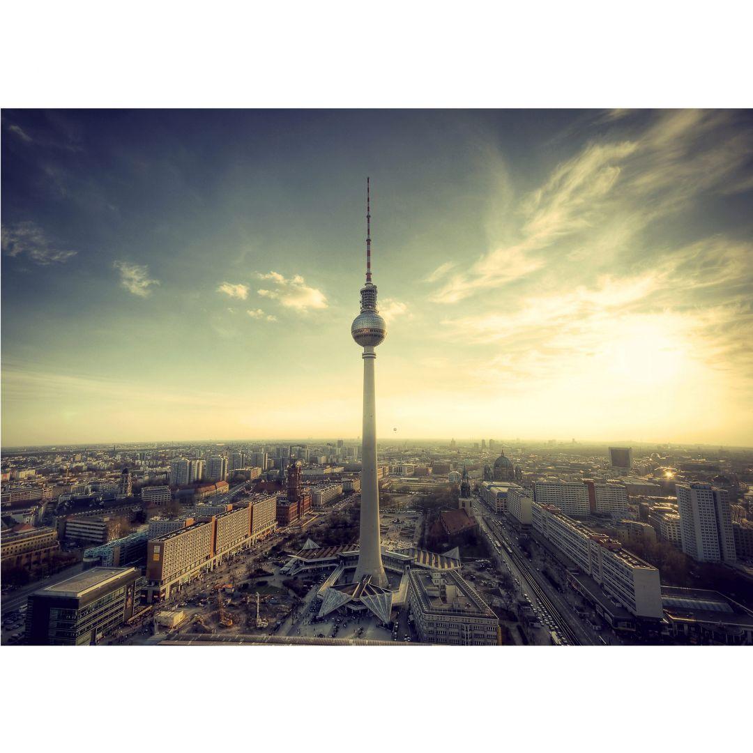 fototapete berliner fernsehturm im panoramaformat von k l wall art wall. Black Bedroom Furniture Sets. Home Design Ideas