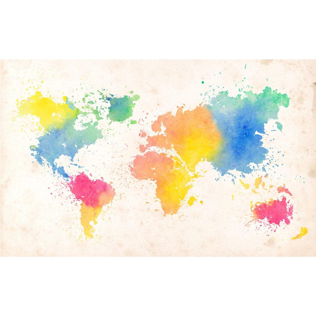 papier peint photo carte du monde watercolour. Black Bedroom Furniture Sets. Home Design Ideas