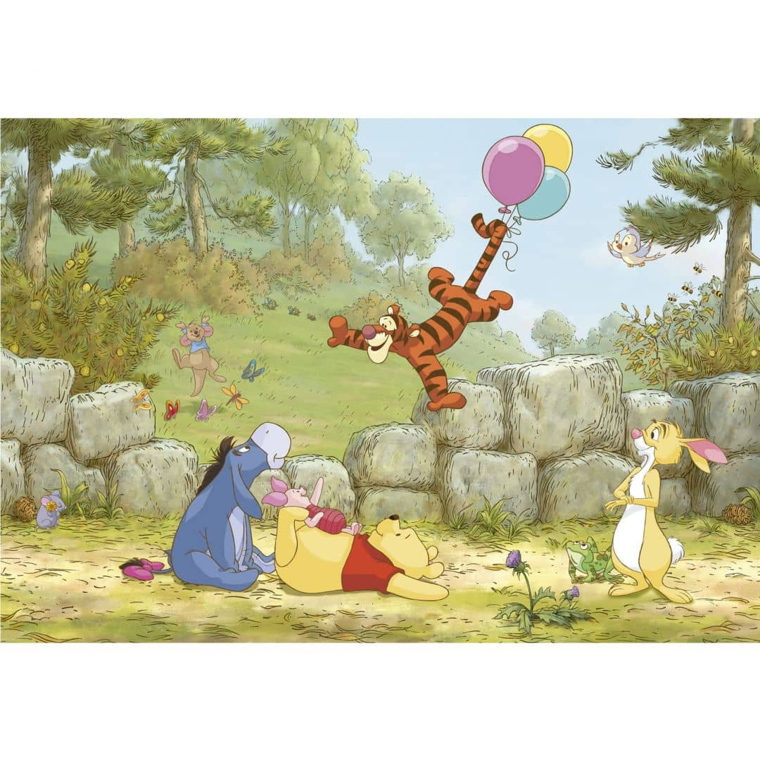 fototapete papiertapete winnie puuh ballooning 8 460 wall. Black Bedroom Furniture Sets. Home Design Ideas