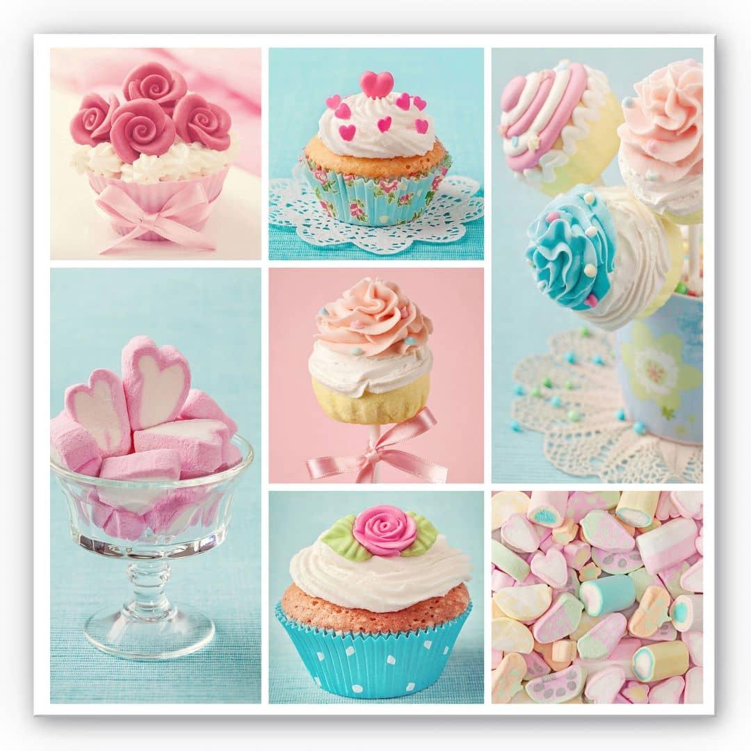 wanddecoratie cupcakecollage vierkant