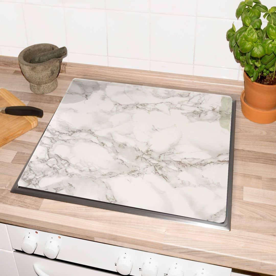 plaques de protection cuisine marbre blanc 01. Black Bedroom Furniture Sets. Home Design Ideas