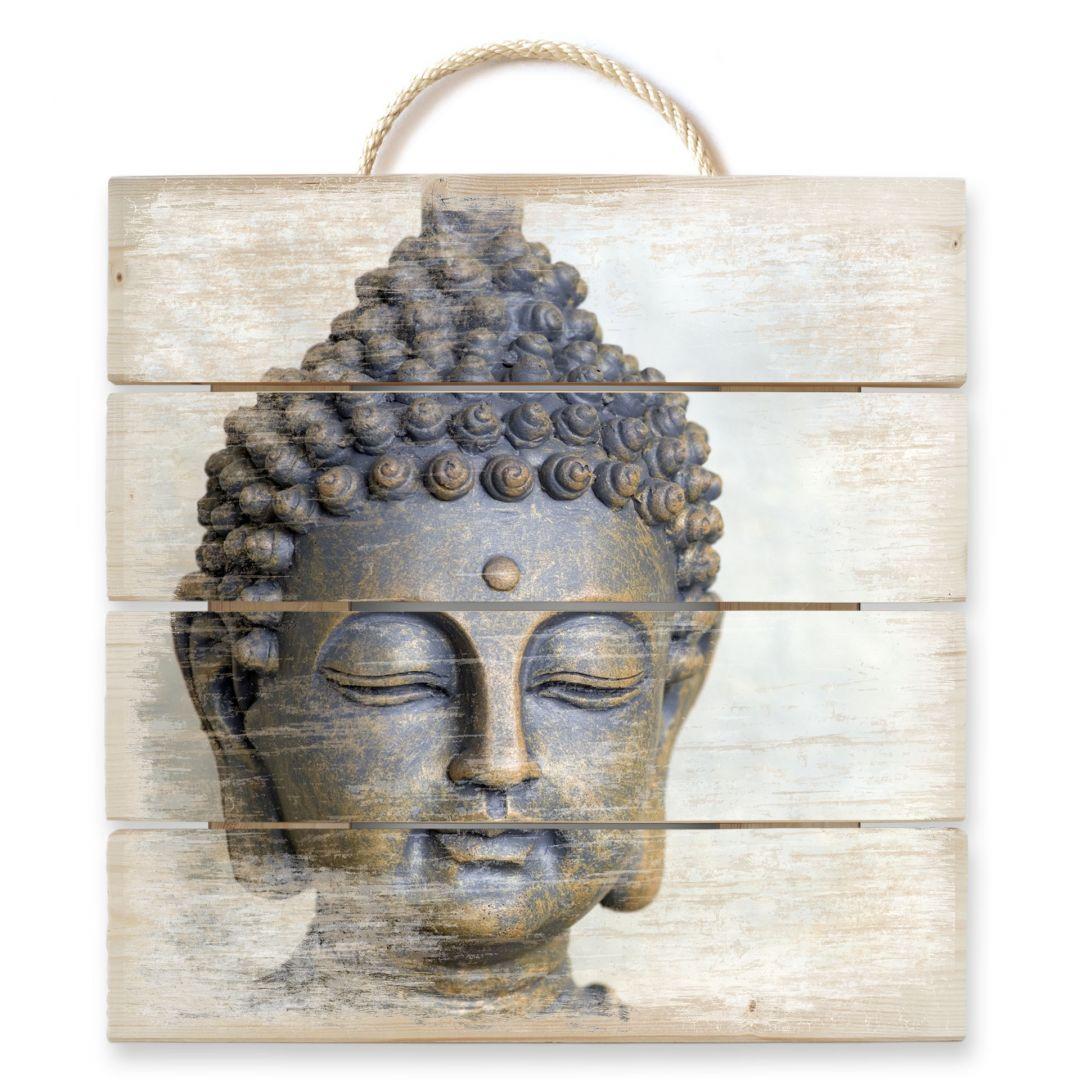 houten wanddecoratie boeddha gezicht