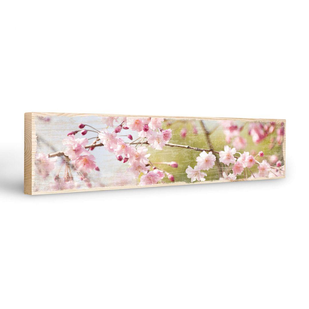 Targa in legno fiori di ciliegio wall for Targhe decorative in legno