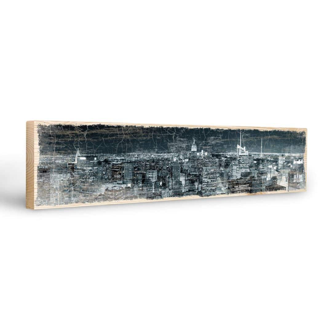 Targa in legno new york di notte 02 wall for Targhe decorative in legno