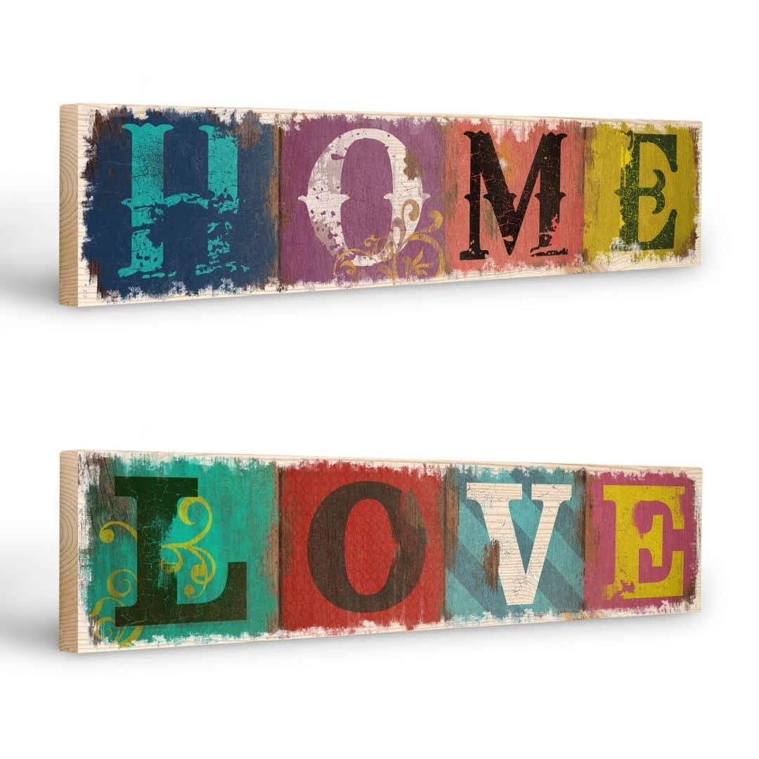 Targhe in legno home love wall for Targhe decorative in legno