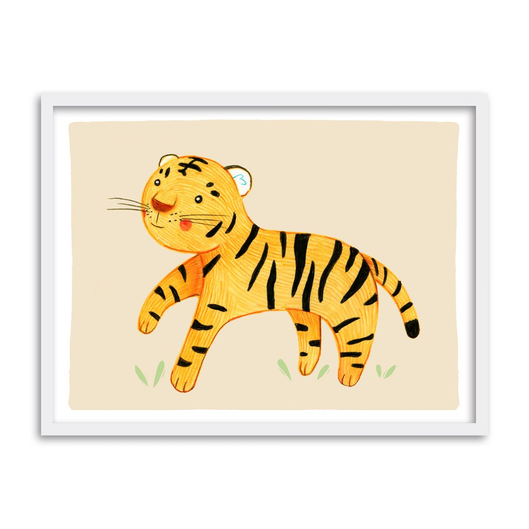 buntes premiumposter mit su em tiger f r das kinderzimmer wall. Black Bedroom Furniture Sets. Home Design Ideas