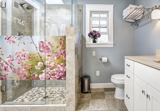 Pellicola adesiva per vetri fiori di ciliegio panoramica for Piastrelle 200x100
