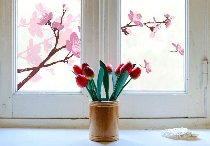 Pellicola adesiva per vetri fiori di ciliegio for Piastrelle 200x100