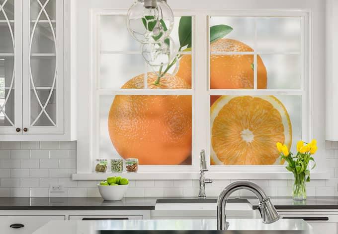 Pellicola adesiva per vetri arance quadrato for Pellicola adesiva per vetri ikea