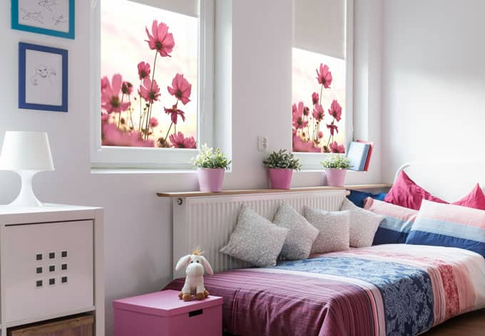 sichtschutzfolie pinke kosmeen quadratisch wall. Black Bedroom Furniture Sets. Home Design Ideas