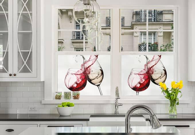 Pellicola adesiva per vetri bicchieri di vino quadrato for Pellicola adesiva per vetri ikea