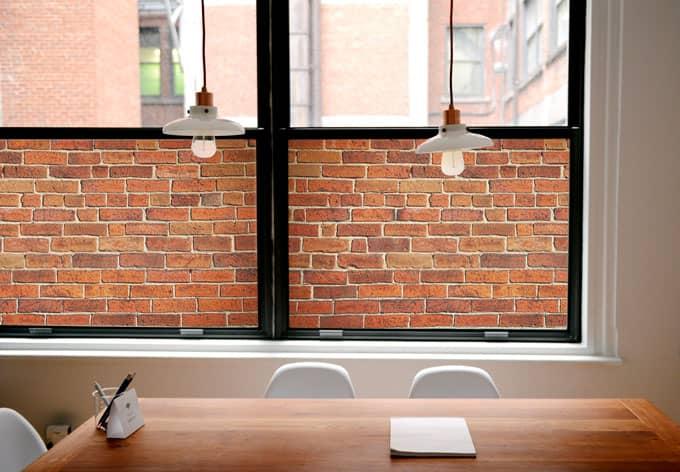 Pellicola Adesiva Per Vetri Muro Di Mattoni Panoramica