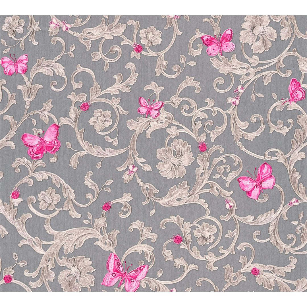 Versace wallpaper tapete butterfly barocco grau metallic lila 343255 wall - Muster tapete lila grau ...