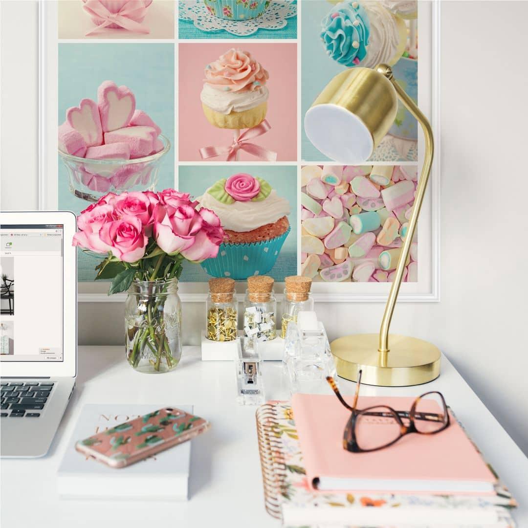 wallprint cupcake collage zuckers e dekoration f r die. Black Bedroom Furniture Sets. Home Design Ideas
