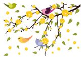 Wandtattoo Blätterregen mit Vögeln