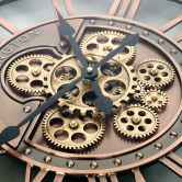 XXL Wanduhr Kensington Kupfer Industrial Design mit beweglichen Zahnädern  Ø55 cm