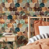 Patterned Wallpaper Fredriksson - Gold & Copper Hexagons