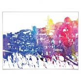 Poster Bleichner - Santorini Aquarell Skyline