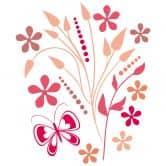 Sticker mural - Roses Papillonnante