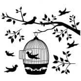 Adesivo murale - Ramo con gabbietta per uccellini