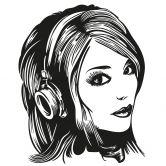 Sticker mural - Fille Casque Audio