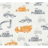Esprit Kids Vliestapete Tractors grau,orange,weiß