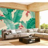 Livingwalls Fototapete ARTist Heliconia mit Palmenblättern creme, gelb, grün, rot