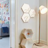 Hexagon - Holz Birke-Furnier - Et-Zeichen - Weiß