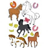 Sticker mural - Set Chevaux Bibi