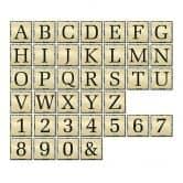 Alu-Dibond Goldeffekt - Buchstabensteine - Shabby