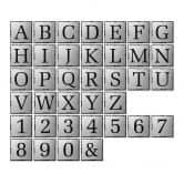 Alu-Dibond Silbereffekt - Buchstabensteine - Shabby
