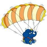 Muursticker Olifant met Parachute